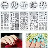 Biubee 10 Pcs Halloween Nail Stamping Plates- Pumpkin Ghost Skull Bat Castle Witch Cat Spider Web Image Nail Plate Templates Nail Art Design Plates Nail Stamping Kits for Manicure DIY Decoration