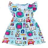 Toddler Girls Apple Printed Back to School Pearls Milk Silk Dress (6T) Blue