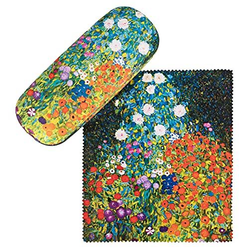 VON LILIENFELD Portaocchiali Astuccio Occhiali Leggero Stabile Colorato Compatto Gustav Klimt: Giardino fiorito