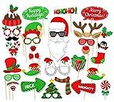 Veewon Fête de Noël Photo Booth Props Photographie Accessoires Décoration De Fête De Noël, 32 Count