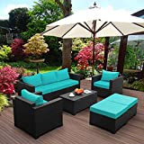 Rattaner Patio Wicker Furniture Set 6 Pieces Outdoor PE Rattan Conversation Couch Sectional Chair Sofa Set with Turquoise Cushion.