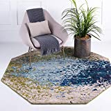 Unique Loom Estrella Collection Colorful Abstract Blue Octagon Rug (6' 0 x 6' 0)