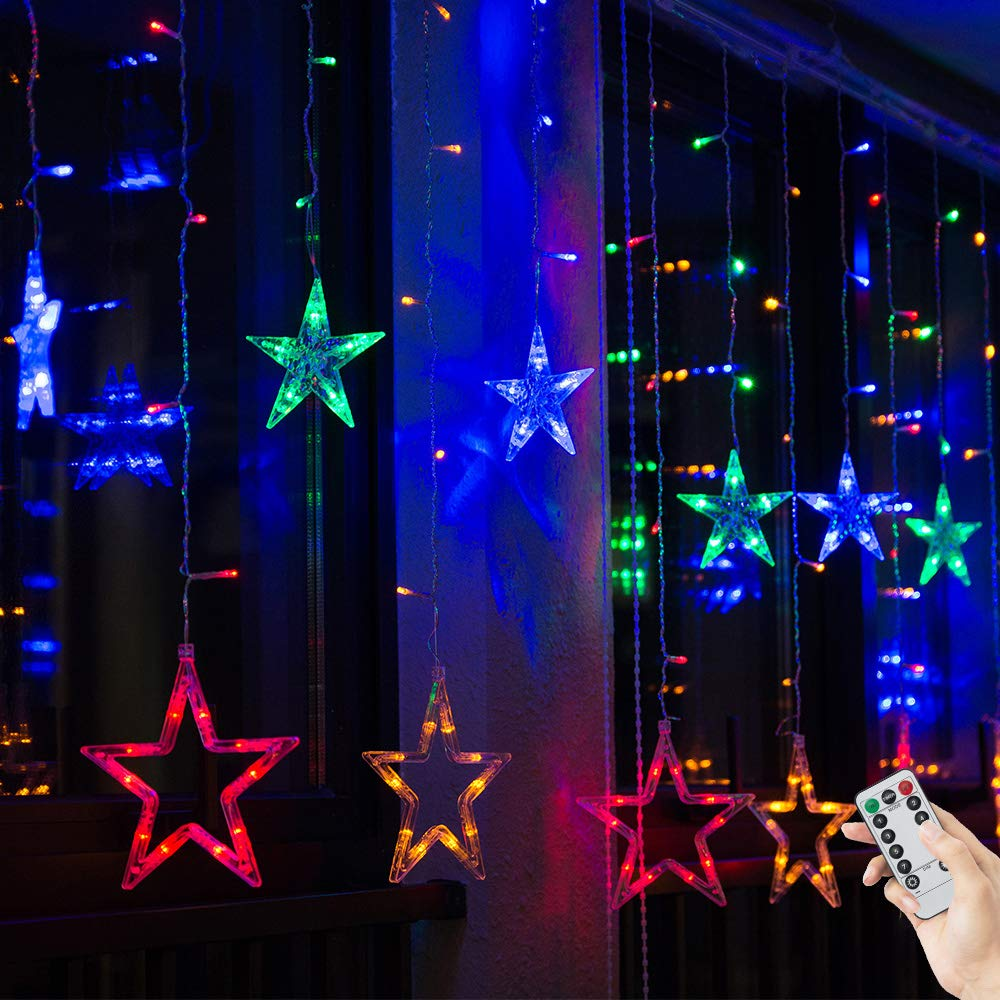 Bloomwin Christmas Window Lights 2m X 1m 138 Leds 12 Stars Curtain Fairy Light Xmas Decoration For Indoor Party Bedroom Colorful Amazon Co Uk Lighting