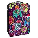 Caja de almacenamiento para zapatos de viaje y uso diario, papel pintado floral con elefantes decorativos, organizador portátil impermeable hasta 12 yardas con doble cremallera y 4 bolsillos