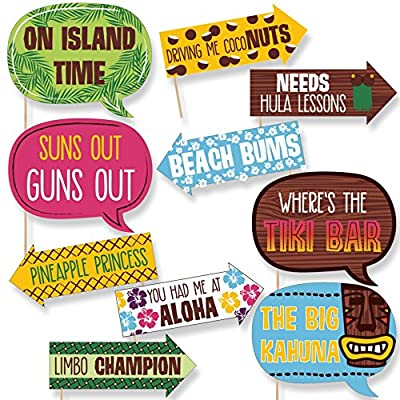 10-Piece Funny Tiki Luau Photo Booth Props Kit INCLUDES 10 Hawaiian Summer arrow and speech bubble photo booth props, 10 wooden dowel sticks and adhesives for assembly. EASY ASSEMBLY: Simply attach the printed DIY photo booth props to the wooden dowe...