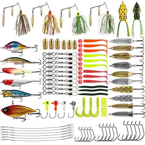 Magreel 110pcs/262pcs Kit di Esche da Pesca Esche Set Esche Artificiali Richiamo con Scatola Inclusi Swimbaits Spinnerbaits Swimbaits Cucchiai da Pesca ECC.