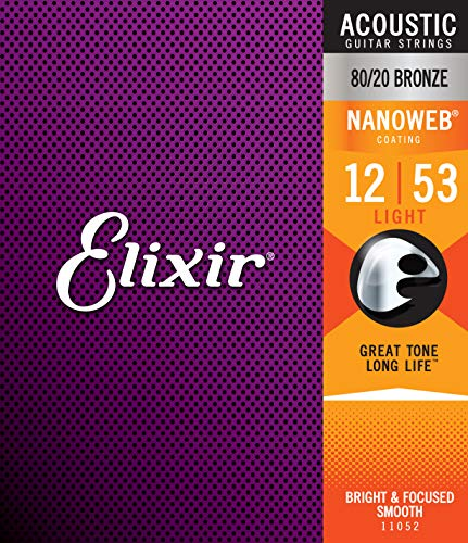 Corde per chitarra acustica bronzo 80/20 Elixir Strings con rivestimento NANOWEB, Light (.012-.053)