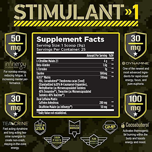 T6 Stimulant-1 Pre Workout Powder – World's Strongest Energy Drink Mix, Nootropic Fat Burner & Focus Supplement for Men & Women w/Taurine & Teacrine, 25sv 2