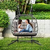 Brafab Luxury X-Large Double Egg Swing Chair 2 Person Hanging Chair Hand Made Rattan Wicker Hammock Chair with Stand and UV Resistant Grey Cushion, Aluminum Frame, for Outdoor Garden Patio Porch