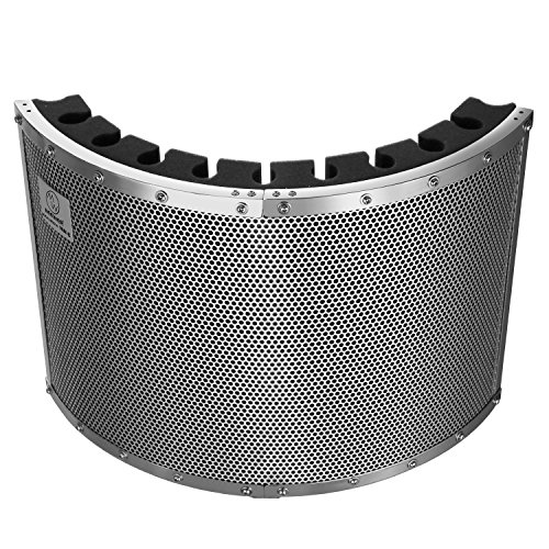 Neewer Portable Microphone Acoustic Isolation Shield with Lightweight Metal Alloy, Acoustic Foams, Mounting Brackets and Screws for Mic Stand with 5/8' Thread