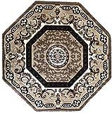 Traditional Oriental Persian Octagon Area Rug Beige Brown Ivory Oriental Design 101 (7 Feet 3 Inch X 7 Feet 3 Inch)