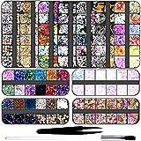 Duufin 15755 Piezas Diamantes para Uñas Pedrería de Imitacion de Arte para Decoración de Arte de Uñas con Pinza y Pinceles para Uñas