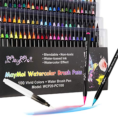 MayMoi Watercolor Brush Pens - 100 Colors Watercolor Markers & 1 Water Brush Pen for Drawing, Coloring and Calligraphy (Non-Toxic & Acid-Free)