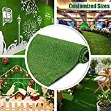 Artificial Grass Turf Lawn 7FTX12FT,Economy Indoor Outdoor Synthetic Grass Mat, Backyard Patio Garden Balcony Rug, Rubber Backing/Drainage Holes