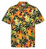 Chemise Hawaïenne Homme   Coton   S – 8XL   Orange   Aloha Filles   Cocktails   Plage   Paumes   Hawaii   Manches Courtes   Poche de Poitrine   Hommes