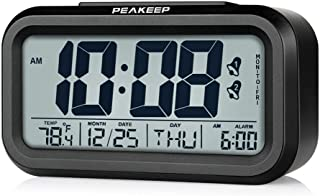Peakeep Battery Operated Cordless Digital Dual Alarm Clock, 7-6-5-day Programmable Alarm,..