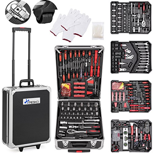 TRESKO Valigia degli attrezzi composta da 949 pezzi | cassetta degli attrezzi | portaattrezzi | set di arnesi | trolley degli attrezzi | acciaio cromo-vanadio