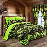 Lime Camouflage Queen Size 8pc Comforter, Sheet, Pillowcases, and Bed Skirt Set - Camo Bedding Sheet Set for Hunters Teens Boys and Girls