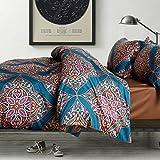 Eikei Home Damask Medallion Luxury Duvet Quilt Cover Boho Paisley Print Bedding Set 400 Thread Count Egyptian Cotton Sateen Vibrant Bohemian Pattern (King, Teal)