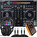 Roland Two-Channel, Four-Deck Serato DJ Controller (DJ-505) with HP2000 Headphone and Pair of QTQ Cable with Magnet Phone Holder, Pack1