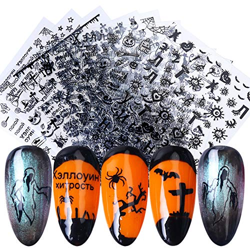 3D Halloween Nail Art Stickers Black Self Adhesive Nails Art Accessories Decals Spider Web Ghost Pumpkin Skull Cat Witch Cool Spooky Slider Wraps for Halloween Holiday Supplies Nail Art Decorations