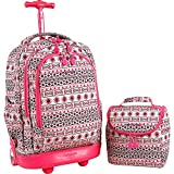 J World New York Setbeamer Rolling Backpack with Lunch Bag (Skandi Pink)