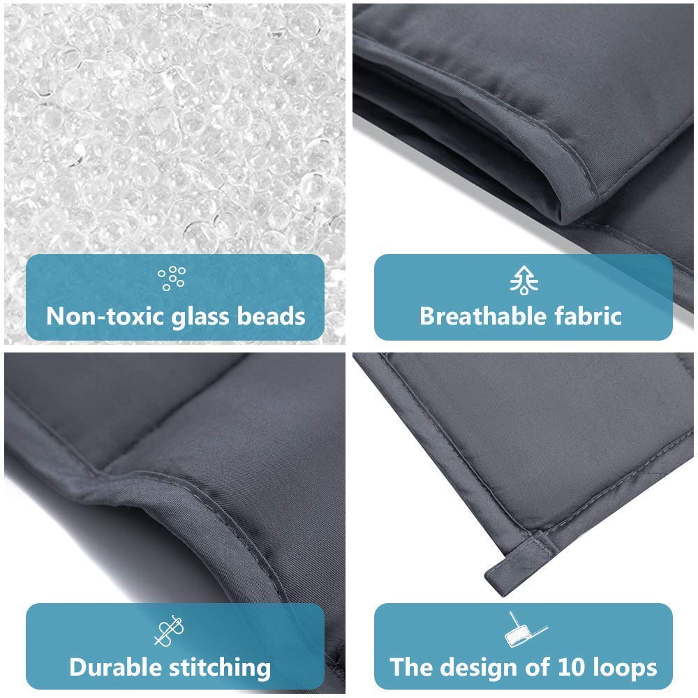 Syrinx Weighted Blanket Kids Twin Size (41'' x 60'', 7 lbs, Dark Grey), Heavy Blanket with Glass Beads