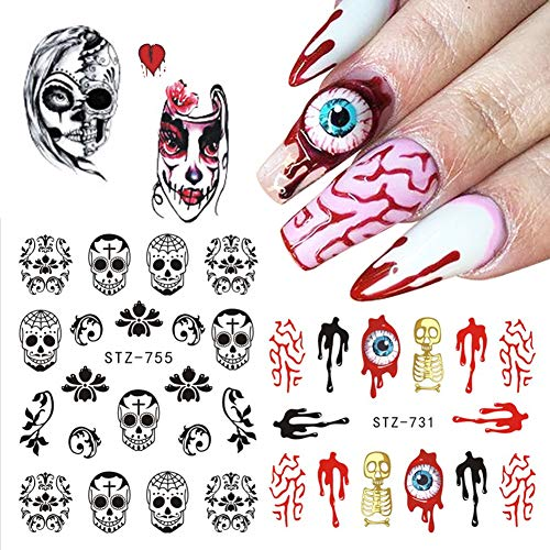 25 Sheets Halloween Nail Stickers Decals Water Transfer Nail Art Decals Ghost Skull Horror Bloody Eye Devil Clown Designs Manicure DIY Nail Art Stickers Trick Nail Art Decors for Women Kids Girls
