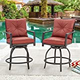 LOKATSE HOME Patio Stools Outdoor Swivel Bar Height Chairs Set of 2, Set, Red