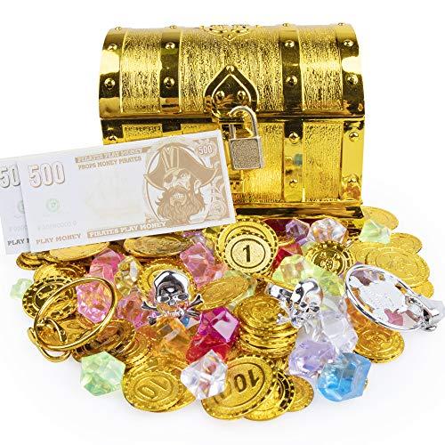 HomeMall Goldmünzen Piratenschatz Piraten Schmucksteine Set,Piraten Schmucksteine Set,Schätze für Schatzsuche,120Pcs Goldmünzen 100g Edelsteine mit Schatztruhe für Piraten Partys