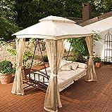 CLP Hollywoodschaukel Kenia mit Bettfunktion I Gartenschaukel für bis zu DREI Personen I Schaukel mit Sonnendach I erhältlich Creme - 2
