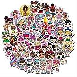 LZWNB LOL Surprise Doll Pegatinas de Dibujos Animados Maleta Trolley Case Maleta Graffiti Pegatinas Impermeables Juguetes para niños 100 Uds