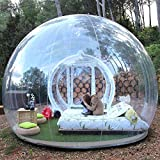 Inflatable Bubble Camping Tent 10ft Commercial Grade Outdoor Clear Dome Camping Cabin Bubble Tent with Blower for DIY Outdoor Backyard Camping (10ft Transparent Tent + 6.6ft Transparent Tunnel)