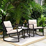 Greesum GS-3RRCSBG 3 Pieces Patio Furniture Set, Glass Coffee Table, Beige