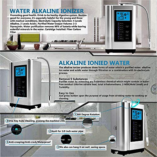 Product Image 5: Alkaline Water Ionizer, Up to -500mV ORP, PH 3.5-10.5 Water Purifier Machine, Home Alkaline Water Filter with 7 Water Settings, 6000 Liters Per Filter,Auto-Cleaning,Intelligent Voice (Silver)