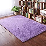 Softlife Fluffy Area Rugs for Bedroom 4' x 5.3' Shaggy Floor Carpet Cute Rug for Girls Kids Living Room Nursery Home Decor, Purple