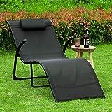 Sonnenliege klappbar Gartenliege Relaxstuhl Liegestuhl mit Kopfkissen Klappliege - 5