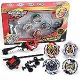 infinitoo Toupie 4pcs Set avec Launcher Gyro métal Combat  Battle Set Jouets Classiques pour Enfants Adulte  4 Toupies + 2 Lanceurs