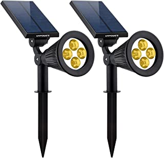 URPOWER Solar Lights 2-in-1 Solar Powered 4 LED Adjustable Spotlight Wall Light Landscape..