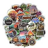FENGLING Pegatinas de Paisaje para Acampar, Aventura al Aire Libre, Escalada, Viaje, Pegatina Impermeable para Maleta, portátil, Bicicleta, Casco, Coche, 50 Piezas
