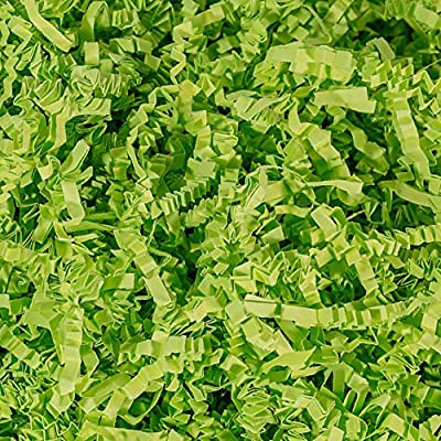Contains (1 LB) Of Crinkle Cut Paper Shred Filler - Lime Green Crinkle cut colored shredded paper makes a great bed for displaying your product Perfect for Gift Wrapping & Basket Filling those extra spaces you have in your packages Attractive void fi...