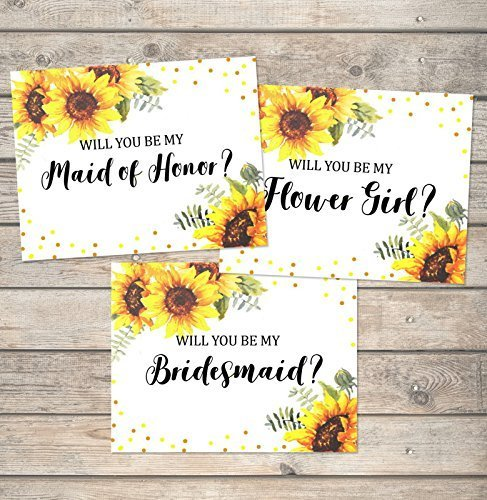 Amazon Com Sunflowers Will You Be My Bridesmaid Cards Flower Girl Maid Of Honor Etc Any Title Combination Sunflowers And Dots Bridal Party Proposal Note Cards Wedding Party Card Set Handmade