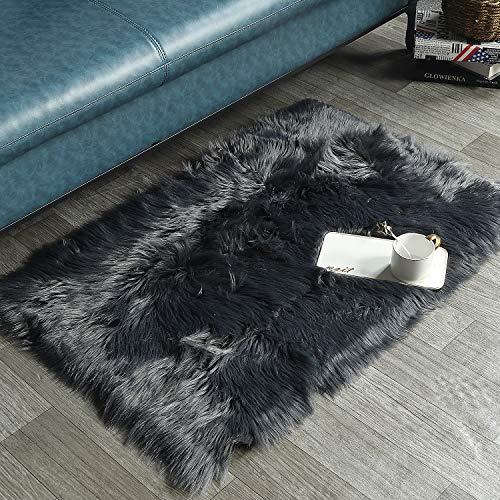 HAOCOO Faux Fur Sheepskin Rug Grey Shag Chair Coach Covers 3'x 5' Fluffy Wool Area Rug Large Soft Kids Play Mat...