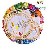 IMMEK kit de inicio de bordado,kit de herramientas de punto de cruz con 100 hilos de colores,5 piezas de círculos de bambú,Aida de la colección Classic Count de 12 a 18 pulgadas y agujas a 14 pulgadas