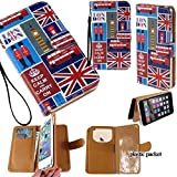 Universal PU Leather Strap Case/Purse/Clutch Fits Apple Samsung LG etc. London Flag Big Ben Bus -Small. Magic Sticker Attaches Phone to Wallet. Strong Adhesive/Easy Remove. Fits Models Below: