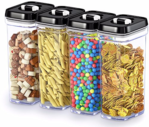 DWLLZA KITCHEN Airtight Food Storage Containers with Lids  4 Piece Set/All Same Size - Medium Air Tight Clear Plastic Pantry & Kitchen Container for Chips & Snacks BPA-Free - Keeps Food Fresh & Dry