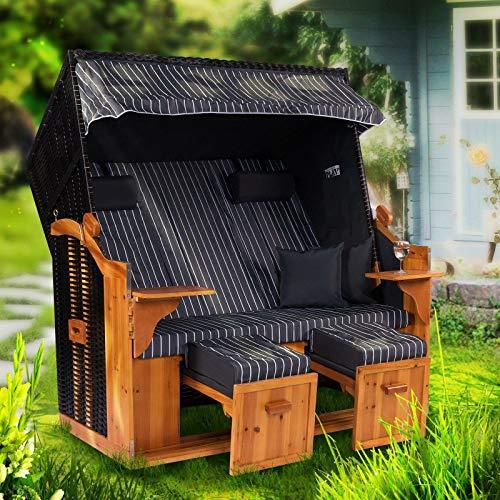 Möbelcreative Strandkorb Ostsee ROYAL XXL Volllieger - Extra Breit - 150 cm in grau weiß inklusive Schutzhülle, ideal für Garten und Terrasse