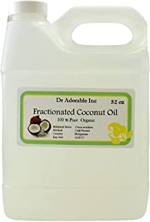 Fractionated Coconut Oil Pure Organic Raw by Dr.Adorable 32 Oz/1 Quart