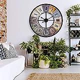 K&L Wall Art Horloge Murale geante XXL Grande Vintage en métal Style Shabby Chic avec Chiffres Romains Ø 80 cm Horloge en Bois murales Industriel. Pendule murales (Vintage)