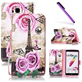LG G Stylo LS770 Case LEECOCO Fancy Print Design Wallet Case with Card Slots Shockproof Colorful Floral PU Leather Flip Stand Case Cover for LG G4 Stylus/LG G Stylo/LS770 Gold Tower & Roses